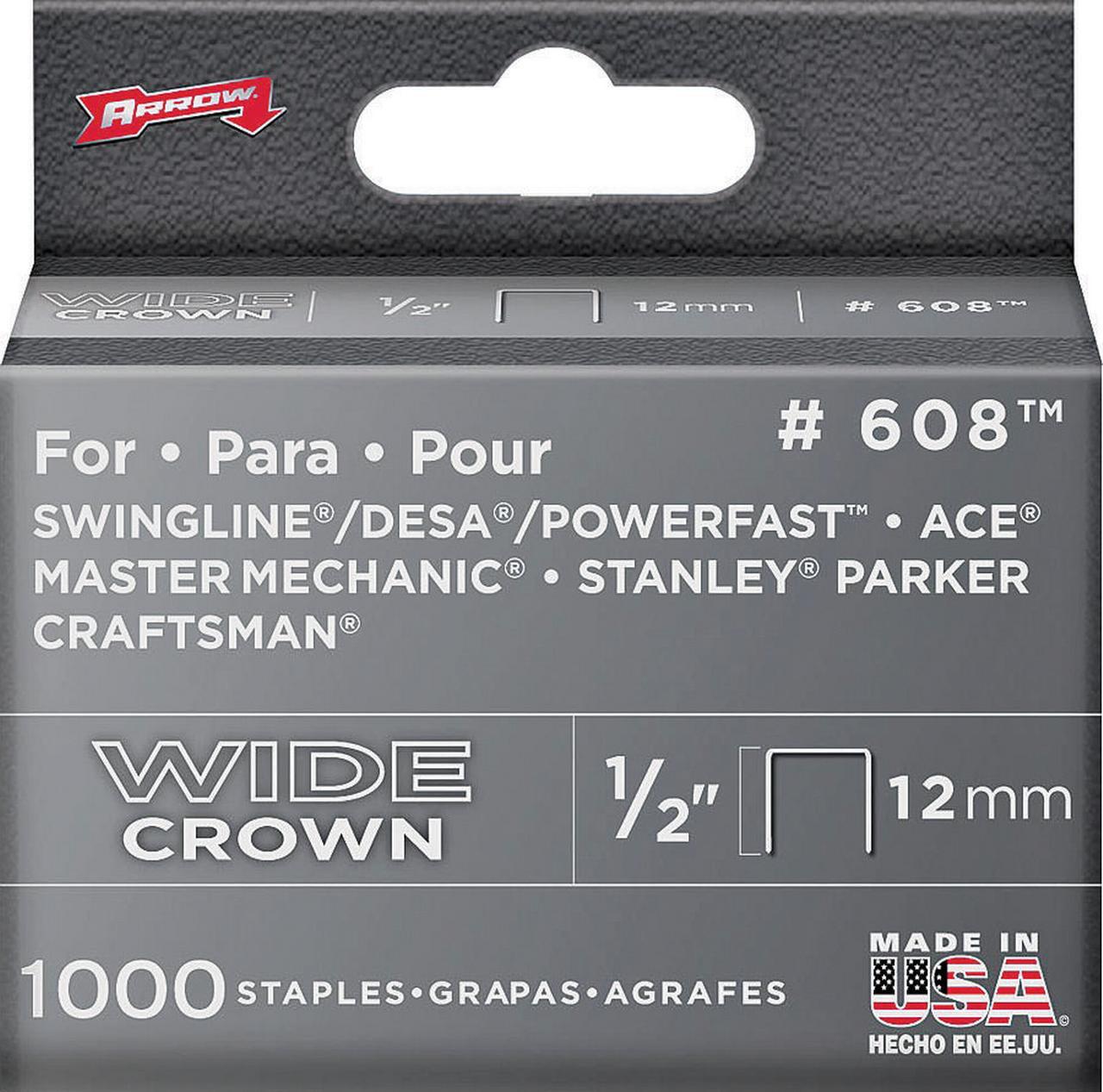 Arrow Fastener 60830 Staples, 600 Series, Wide Crown, 1 2 Inch by Arrow Fastener