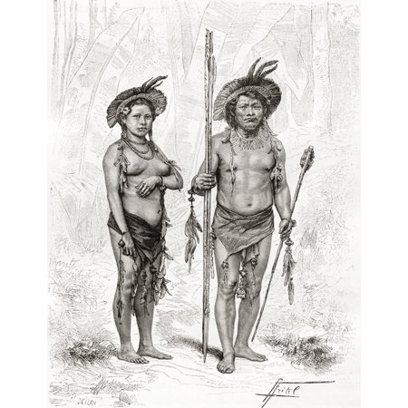 Native Indians from Rio Branco South America in the 19th century From Am Canvas Art - Ken Welsh  Design Pics (12 x 16)