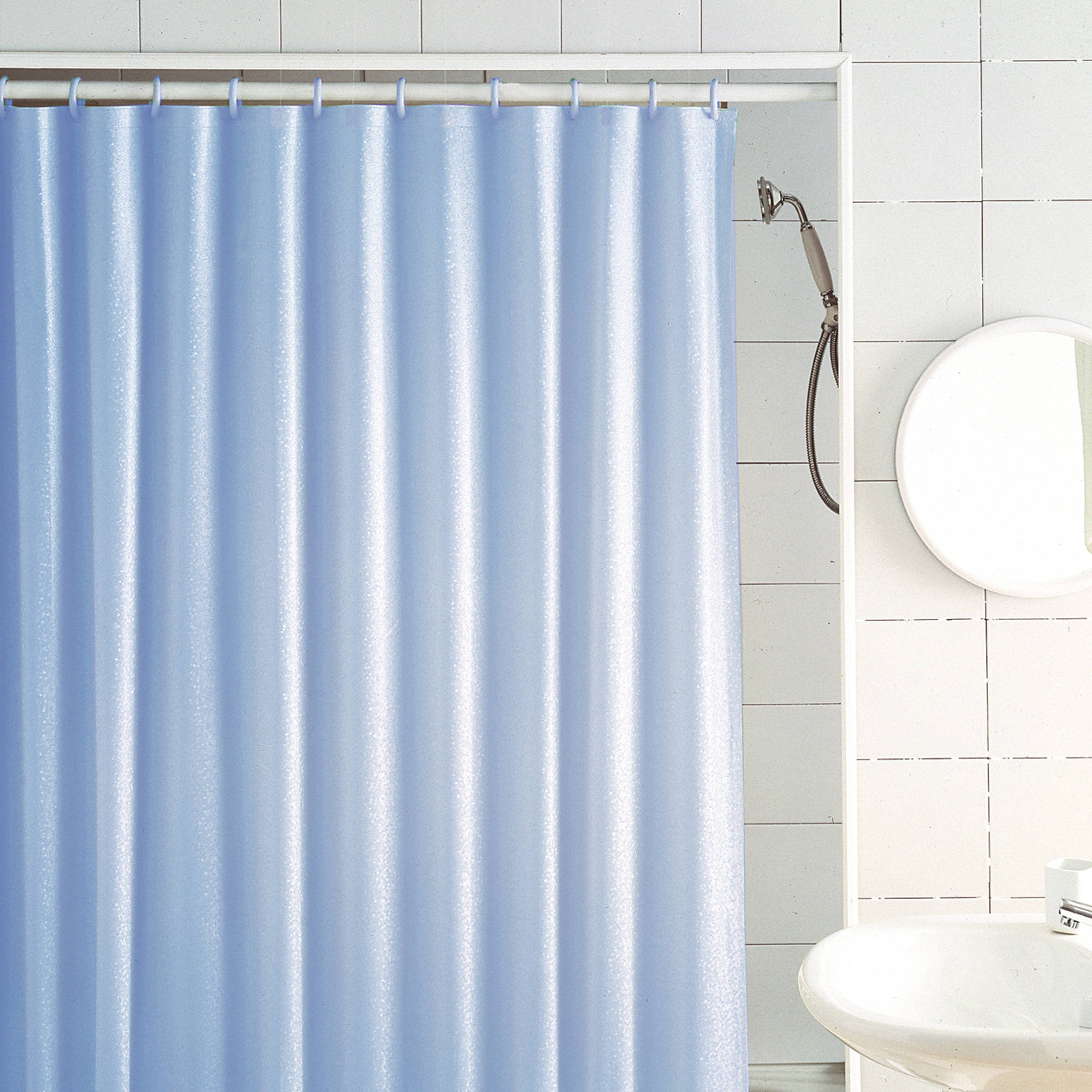 "Excell Glitter Medium-Weight Vinyl Shower Curtain, 70"" x 72"", Light Blue"