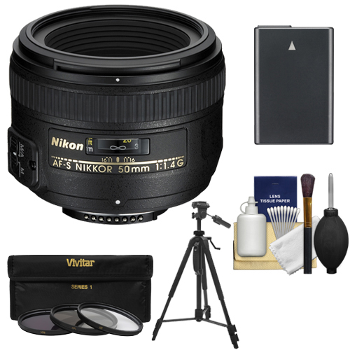 Nikon 50mm f/1.4G AF-S Nikkor Lens with EN-EL14 Battery + 3 UV/CPL/ND8 Filters + Tripod + Kit for D3200, D3300, D5100, D5200, D5300, D5500 DSLR Camera