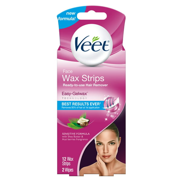 Hair Removal Wax Strips Veet Easy Gelwax Technology Sensitive Formula Ready To Use Hair Remover Face Wax Strips With Shea Butter Acai Berries Fragrance 12 Wax Strips With 2 Wipes Walmart Com
