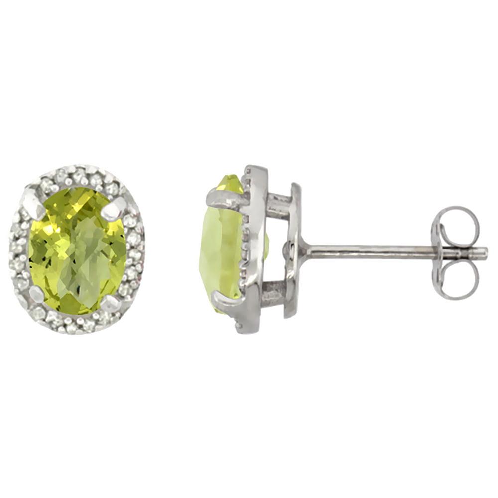 10K White Gold Diamond Natural Lemon Quartz Earrings Oval 7x5 mm