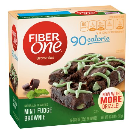(2 Pack) Fiber One Brownies 90 Calorie Mint Fudge Brownie 6 Fiber Bars 5.34 oz