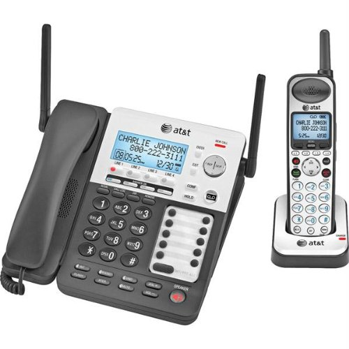 AT&T SynJ SB67138 Cordless Phone DECT Black, Silver 4 x Phone Line Answering Machine Caller ID Speaker Phone... by AT&T