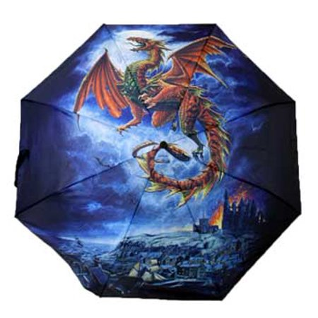 Travel Gear Stick Umbrella Medieval Fire Dragon In Night Castle Scape Flight of