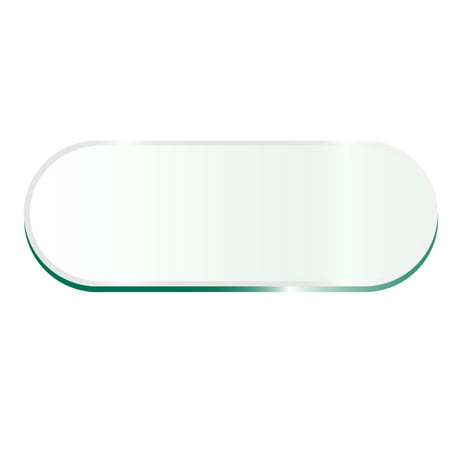"42"" x 72"" Racetrack Glass Top 1/2"" Thick - 1"" Bevel Edge"