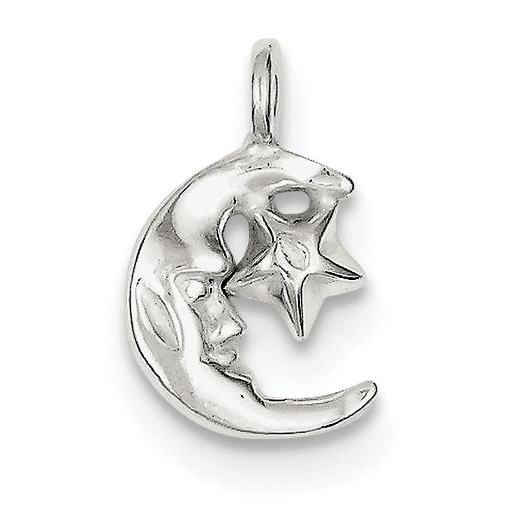 Sterling Silver Moon & Star Charm QC1086 (19mm x 10mm) - image 2 de 2