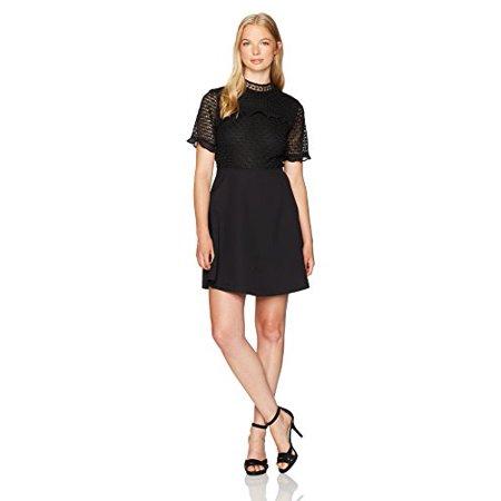 Xoxo Womens Mixed Lace Skater Dress Black X Large