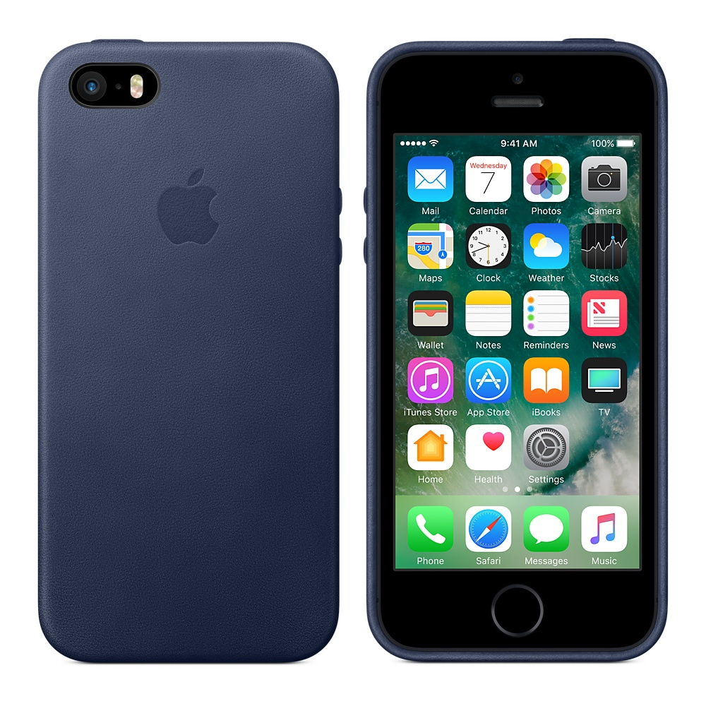 the latest 61f5a 8b132 Apple iPhone SE Leather Case, Midnight Blue