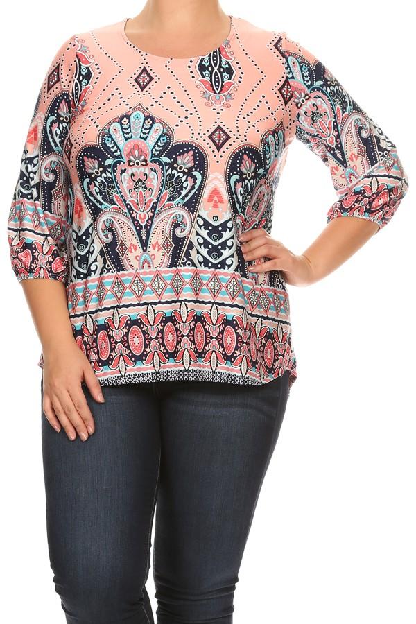 Women's PLUS trendy style 3/4 Sleeves Print Top