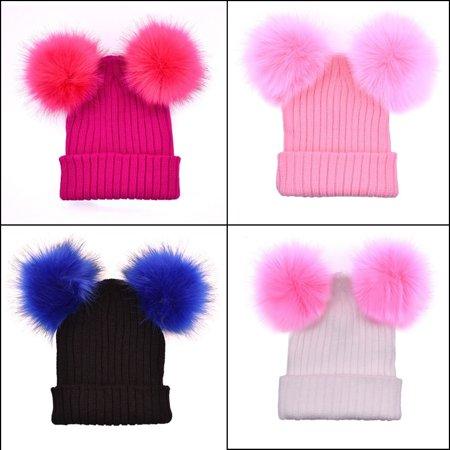 Fashion Warm Women´s Winter Beanie Outdoor Chunky Knit with Double Fur Pom Pom Cute Hat