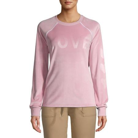 No Boundaries Juniors' Velour Graphic Sweatshirt Pink Velour Hoodie