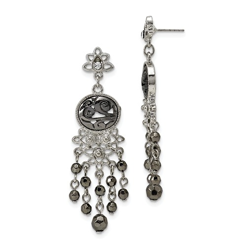 Silver-tone Jet Black Crystal Chandelier Post Dangle Earrings