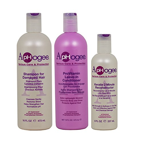 "ApHogee Shampoo for Damaged Hair + ProVitamin Leave-In Conditioner 16oz + Keratin 2 Minute Reconstructor 8oz ""Set"""