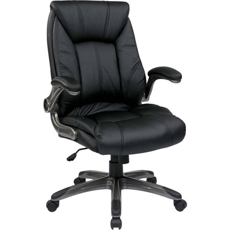 Office Star Work Smart Faux Leather Mid Back Managers Chair With Padded Flip