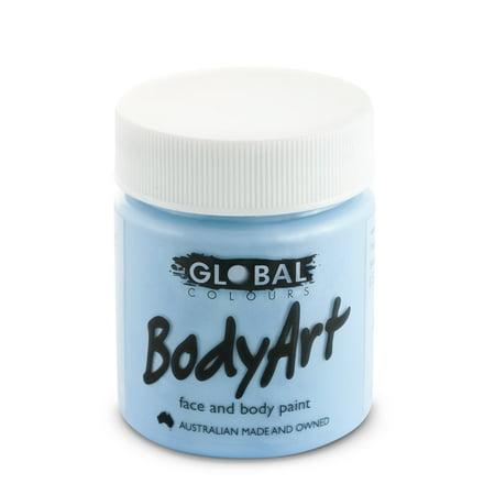 Global Body Art Face Paint - Liquid Light Blue 45mL - Black Light Body Paint