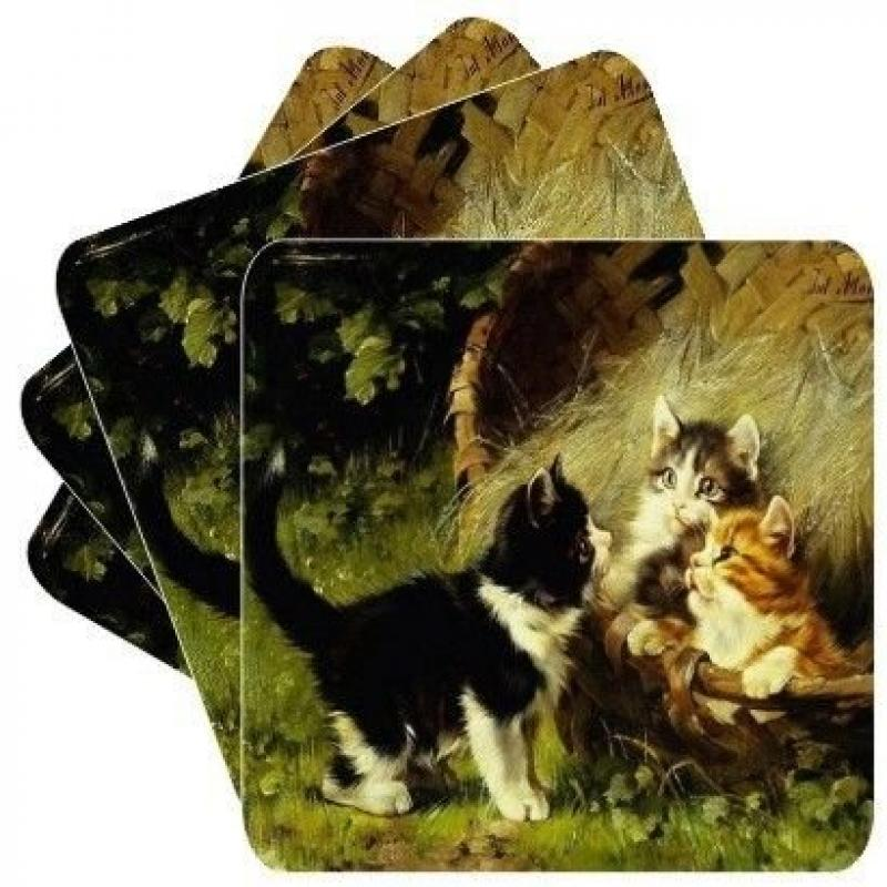 New Set of 4 Kitties In Garden Square Coasters