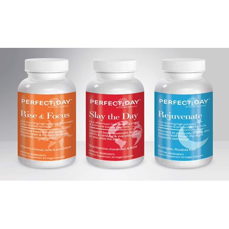 The Perfect Day 3 Pack Set. Feel Your Best. A-Z. Minerals, Amino Acids & Antioxidants. Herbal Nootropic. Boost Intelligence Levels. Joint, Muscle, Cartridge, Immune, Bone, Stress Relief (Best 3 Day Pack)