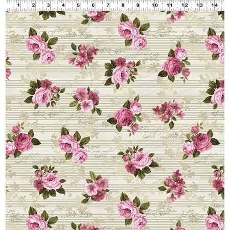 Clothworks Cotton - Love Song - Khaki - Pink Roses - Cotton Fabric - Clothworks