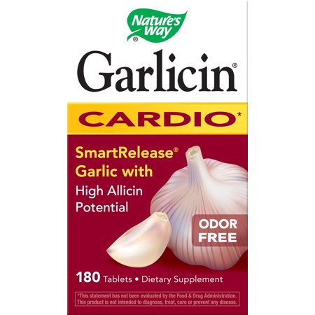 Copper Free 180 Tablets - Natures Way Garlicin Cardio Smart Release Garlic with MAX Allicin Potential Odor Free 180 Ct