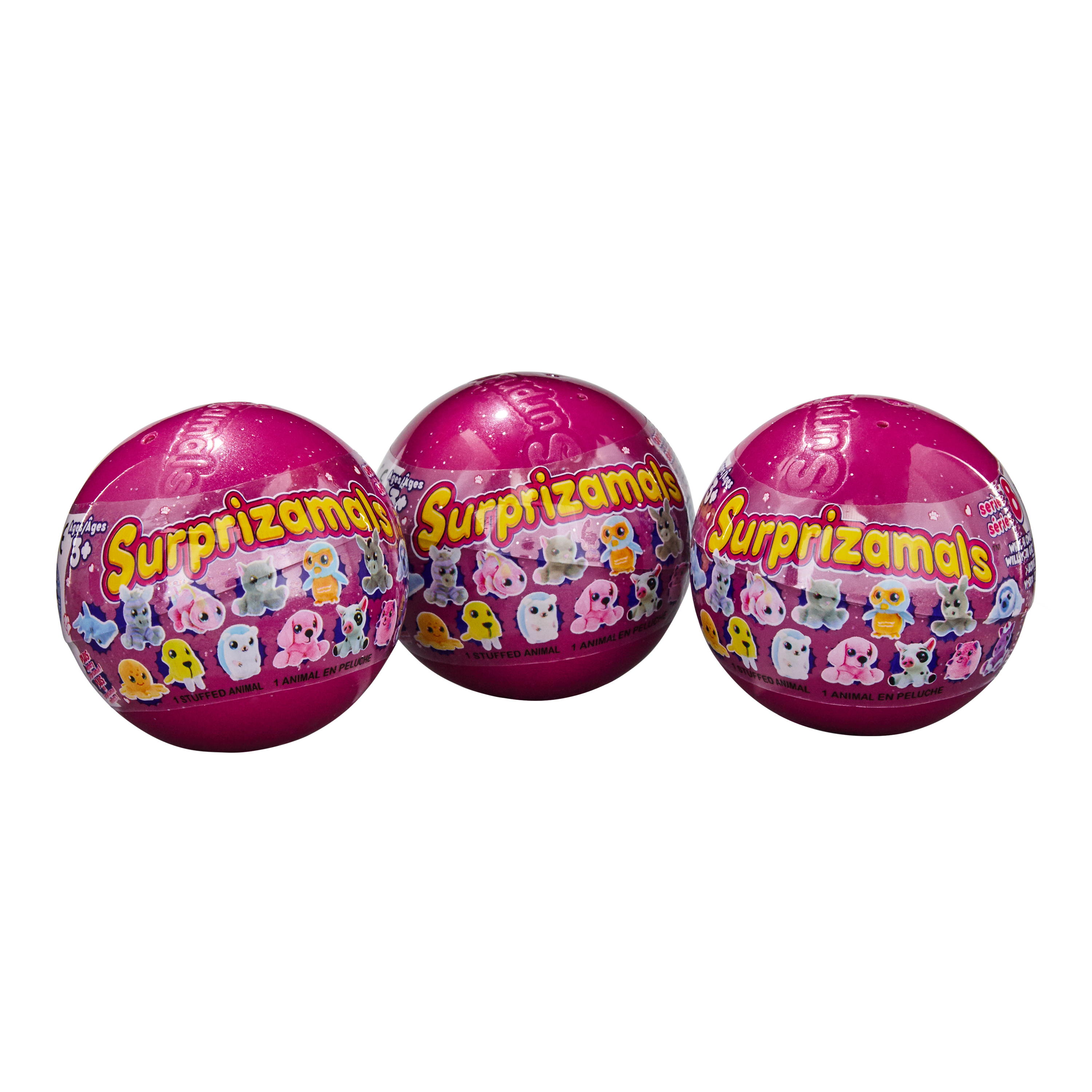 Surprizamals, 3-Pack - Mystery Balls with Collectible Plush Toy (Series 8)