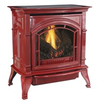 31,000 BTU Vent Free Natural Gas Stove Red Enameled Porcelain Cast Iron