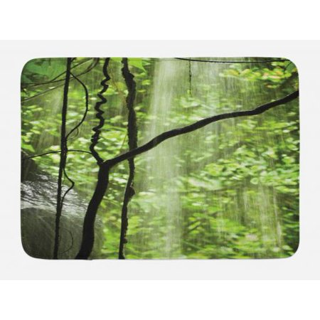 Rainforest Bath Mat, Jungle View with Waterfall Rocks and Trees Natural Beauty in Wild Atmosphere, Non-Slip Plush Mat Bathroom Kitchen Laundry Room Decor, 29.5 X 17.5 Inches, Green Brown, Ambesonne