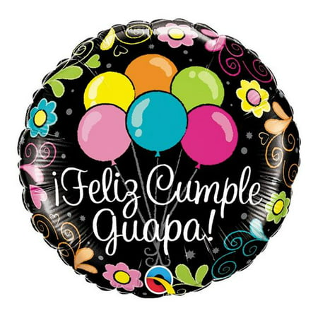 Qualatex 85855 18 in. Feliz Cumle Guapa Flat Foil Balloon - Pack of 5