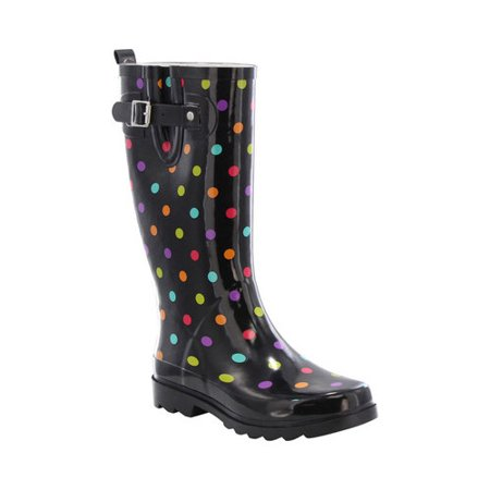 western chief women women's printed tall rain boot, dot city black, 9 m