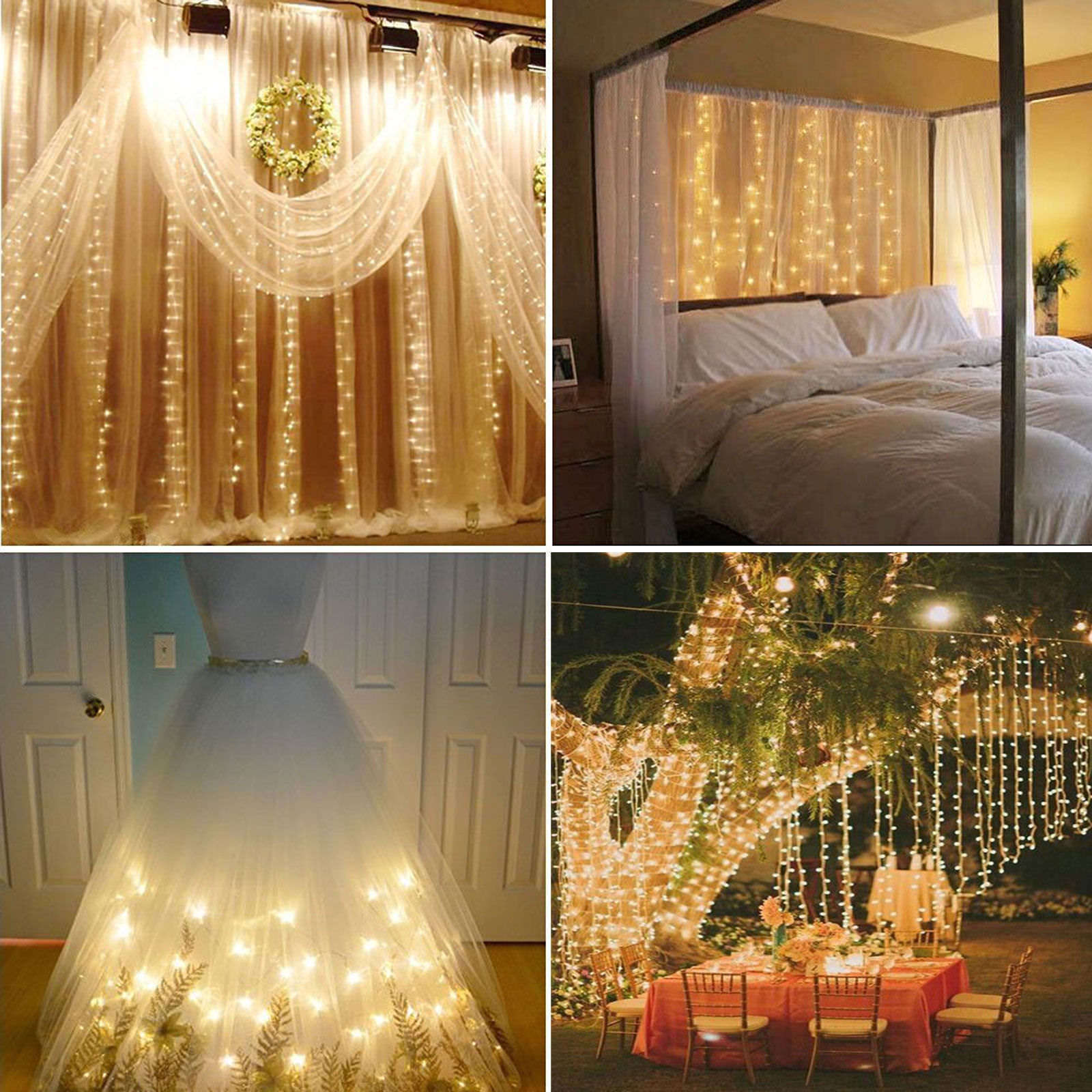 9 8ft X 9 8ft 304 Led Led Curtain Lights Wateproof 8 Modes Fairy String Lights Warm Cool Muticolor White Light String Fairy Lamp Shiny Christmas Xmas Wedding Curtain Decoration For Room Apartment Walmart Com