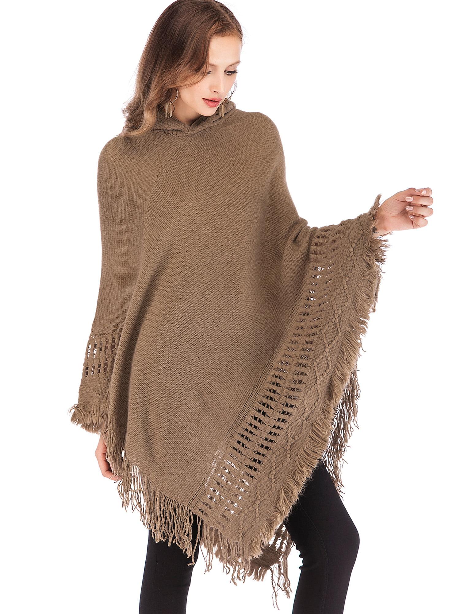 Women Ladies Tassel Fringe Cardigan Shawl Poncho Jumper Sweater Coat  Outwear