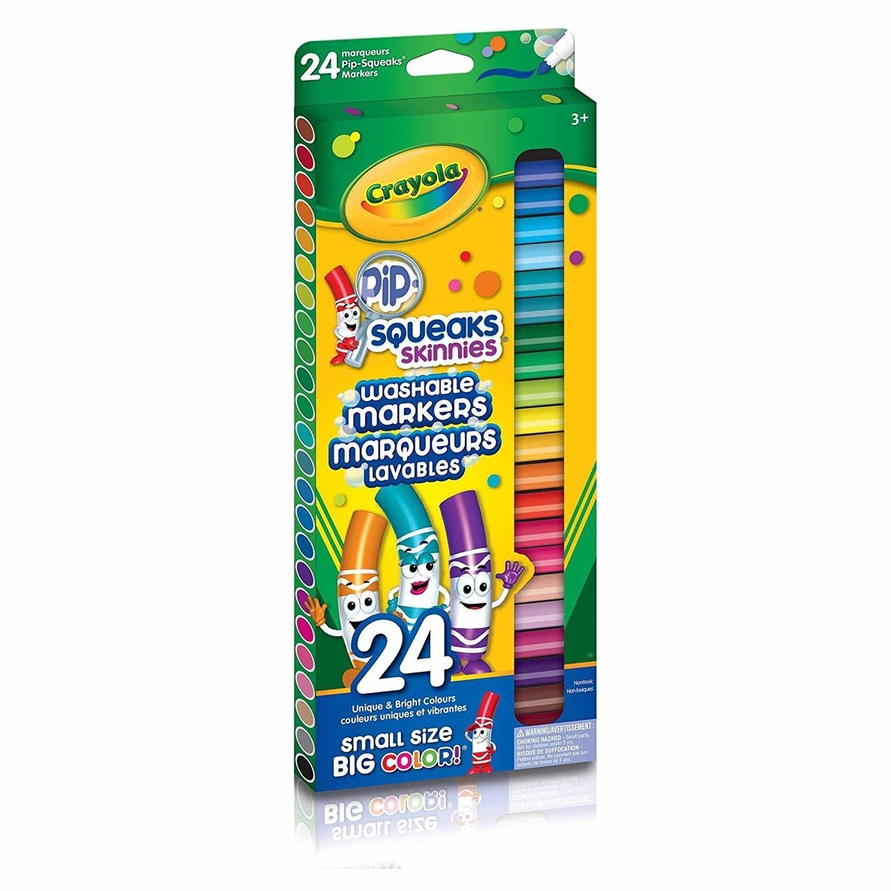 Crayola Pip-Squeaks Skinnies Fine Line Washable Markers, 24 Count