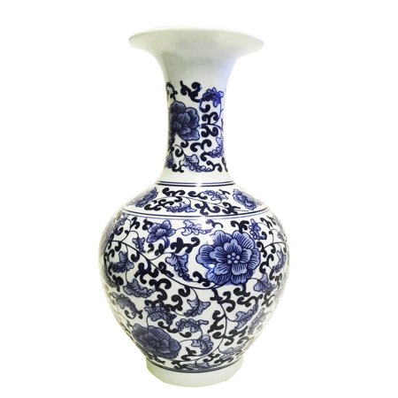 Classic Blue and White Porcelain Floral Decorative Vase, Tradional - Floral Porcelain Vase