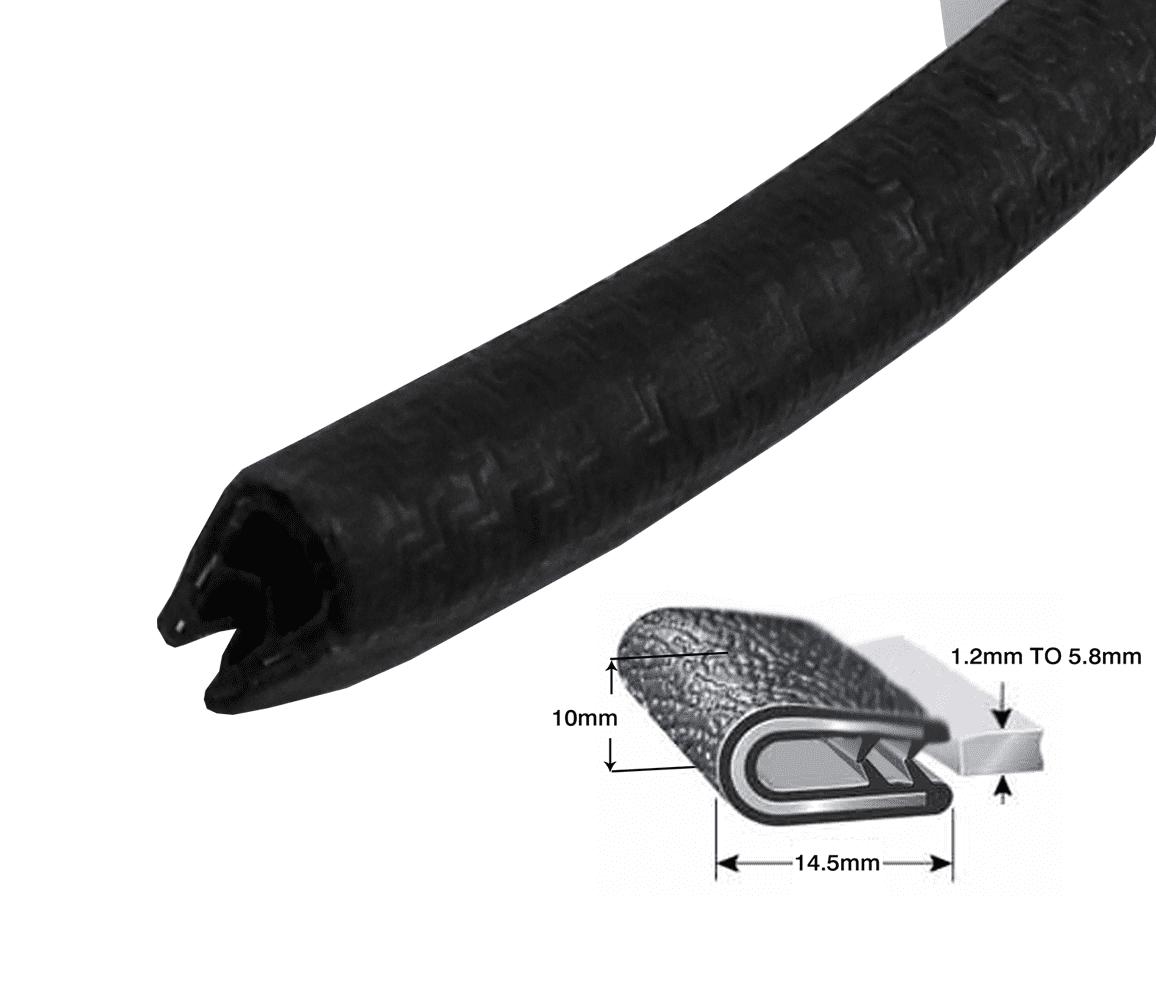 Small vertical leaf fin car boot seal rubber edge trim van boat truck caravan