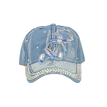 Top Headwear Multi Colored Sexy Stone Denim Baseball Cap