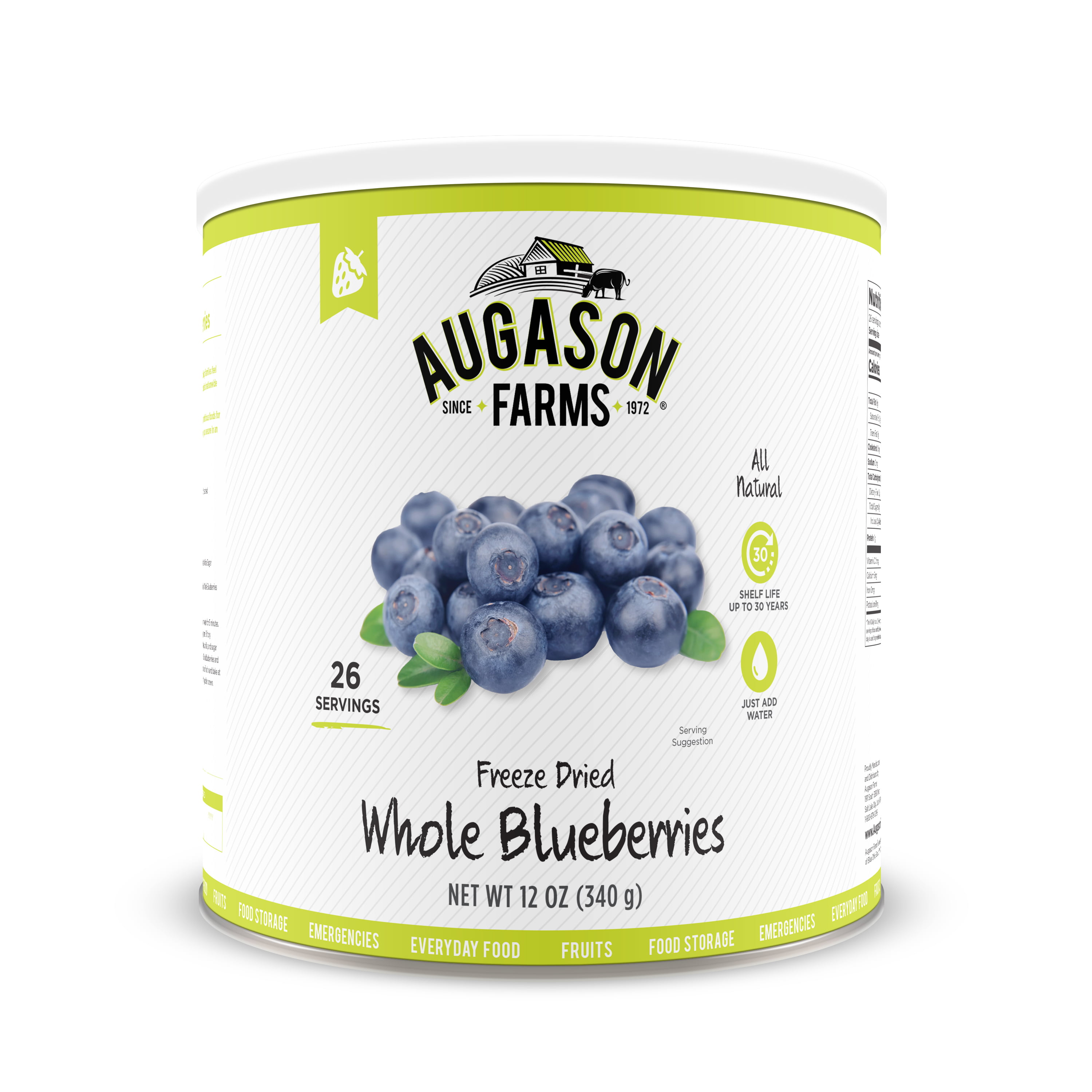 Click here to buy Augason Farms Freeze Dried Whole Blueberries 12 oz No. 10 Can by Blue Chip Group.