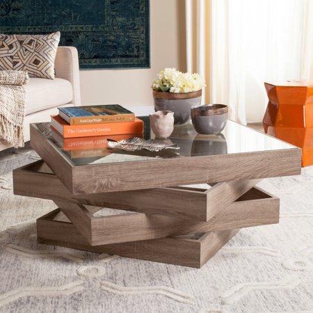 "Safavieh Anwen 33.5"" Square Mid Century Geometric Coffee Table, Light Grey"