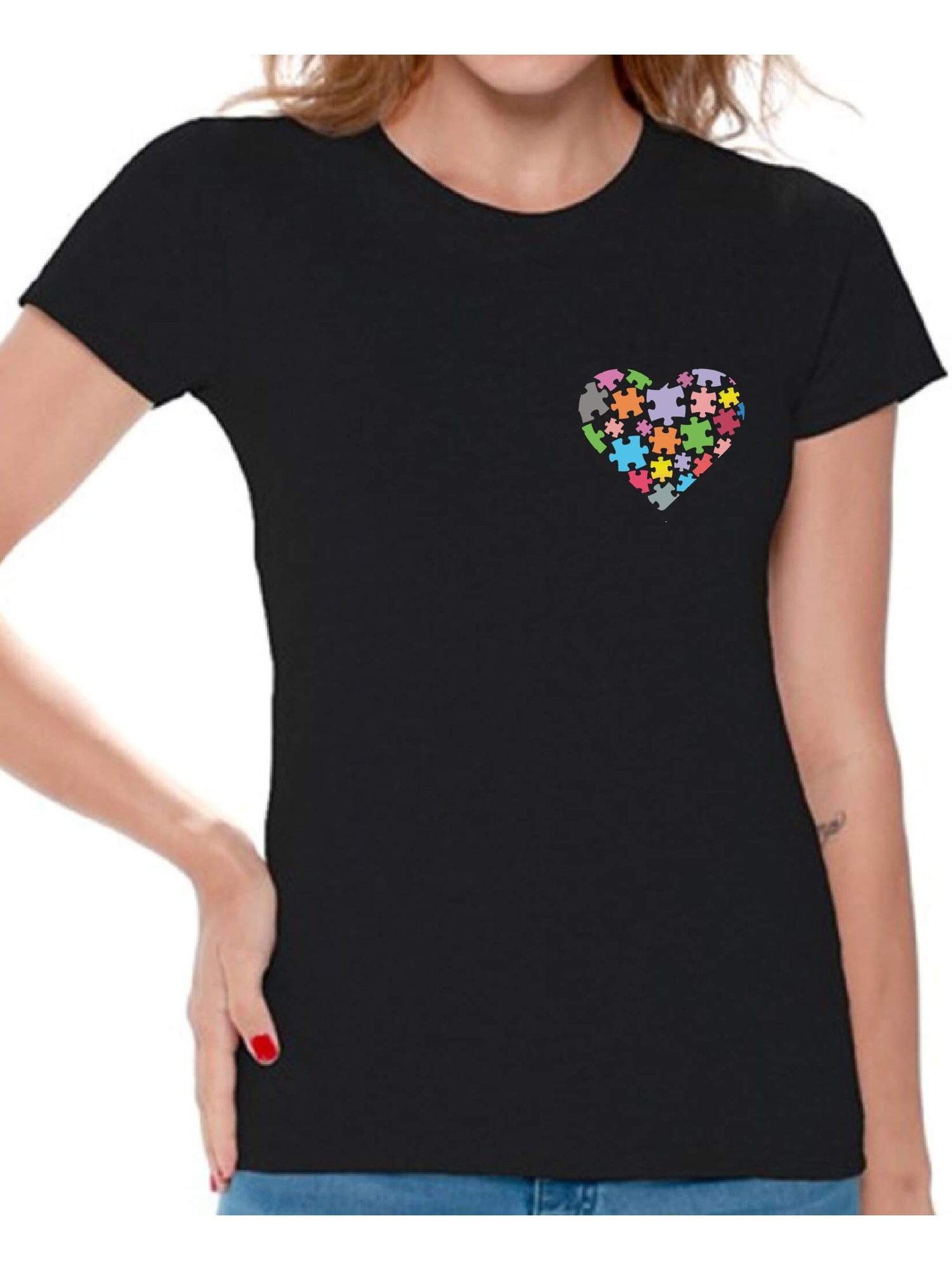 0e0e961594 Awkward Styles Autism Awareness Shirts for Women Heart Pocket T-shirt  Autism Gifts Love Puzzle Tshirt for Women Support Autism Awareness Women s  T Shirt ...