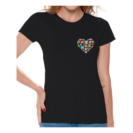 Autism Merchandise (Awkward Styles Autism Awareness Shirts for Women Heart Pocket T-shirt Autism Gifts Love Puzzle Tshirt for Women Support Autism Awareness Women's T Shirt Tops Autistic Spectrum Awareness)