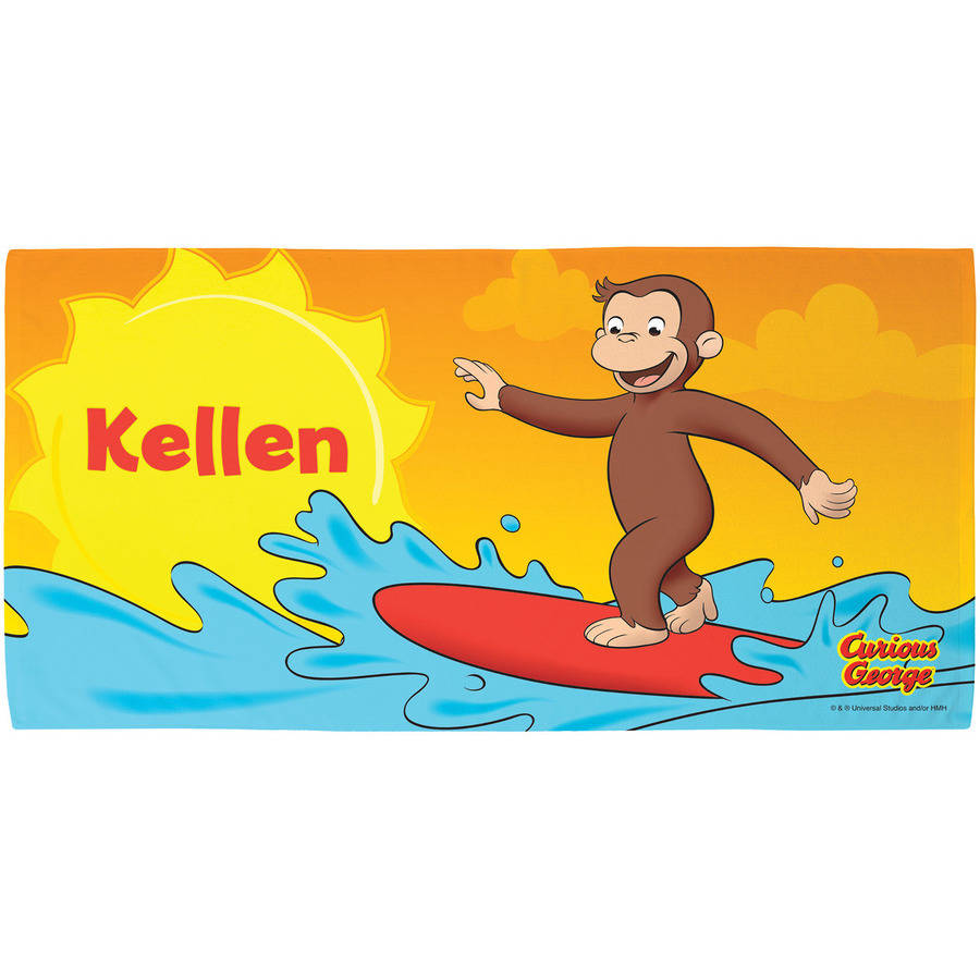 Personalized Curious George Surfing Fun Beach Towel