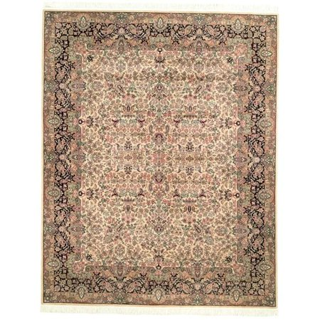 Safavieh Asian Hand Knotted Royal Kerman Ivory And Green Wool Rug 8