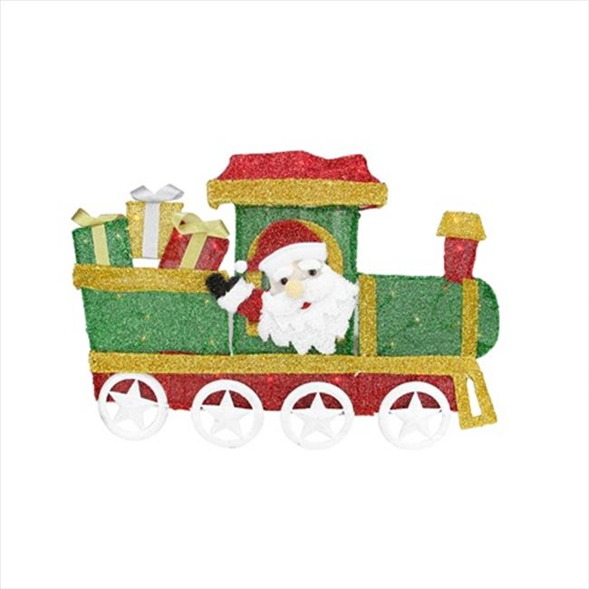 NorthLight 30 in. Lighted Tinsel Choo Choo Train Locomotive With Santa Claus Christmas Yard Art Decoration