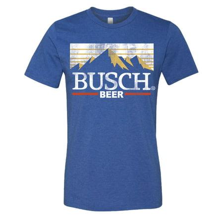 Brew City Beer Gear Busch Beer Vintage Mountains Short Sleeve T-shirt-Heather Royal-medium