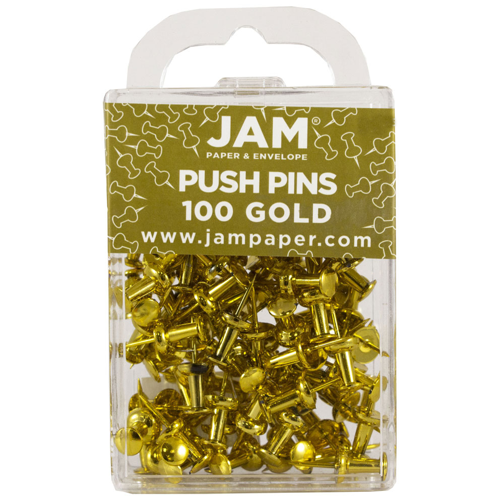 JAM Paper Push Pins, Gold PushPins, 100/Pack