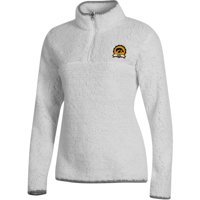 Women's Russell Athletic White Iowa Hawkeyes Sherpa Quarter-Zip Pullover Jacket