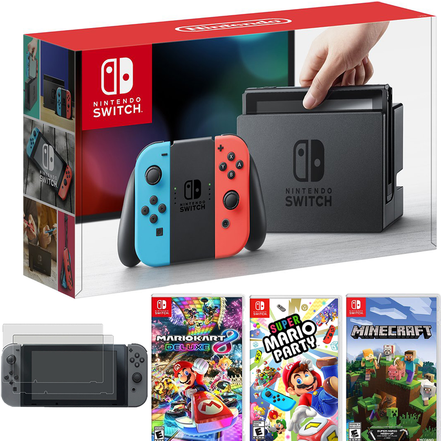Nintendo Switch Console Blue Red Joy Con Mario Kart 8 Deluxe