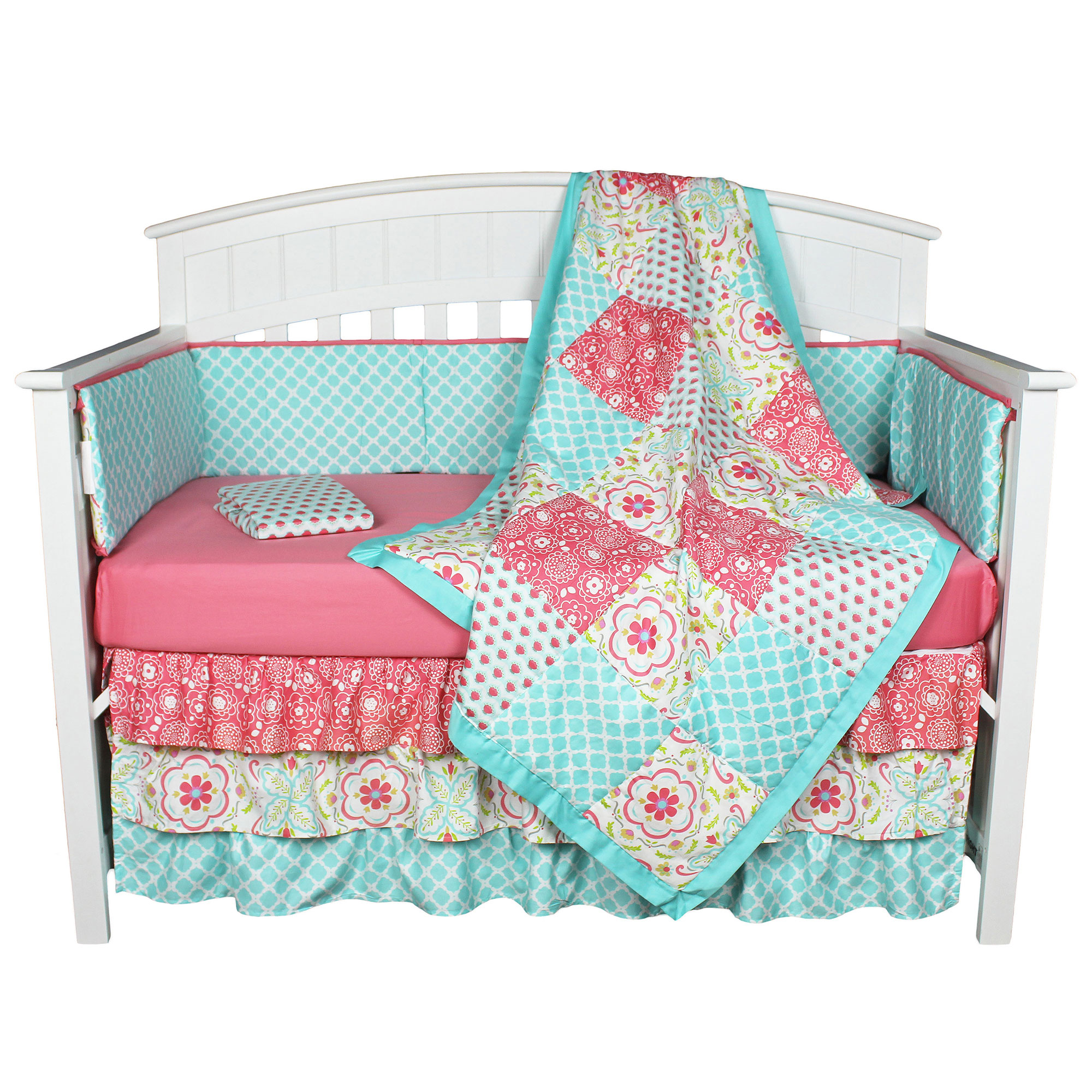 The Peanut Shell Baby Girl Crib Bedding Set - Coral and Aqua Floral Design - Gia 5 Piece Set Includes Coverlet, Bumper, Dust Ruffle, and Two Fitted Sheets