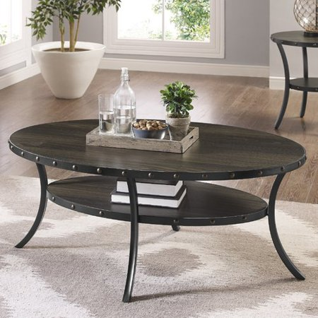 Roundhill Furniture Biony Espresso Wood Nail Head Trim  Coffee Table