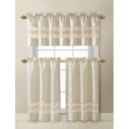 Beige 3 Piece Jacquard Kitchen Window Curtain Set with Embroidered Sheer Accent Stripe