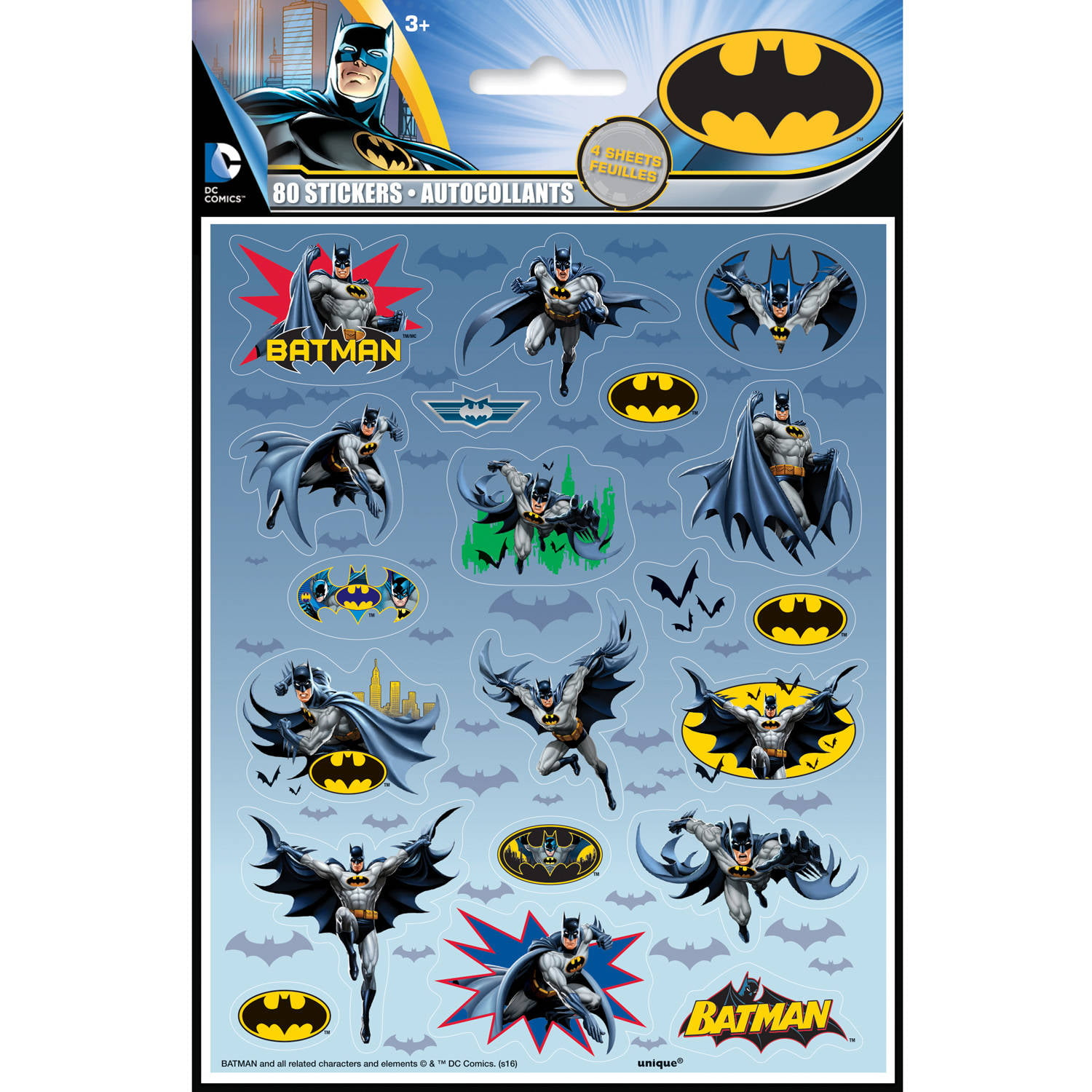 Batman sticker sheets 4ct walmart com